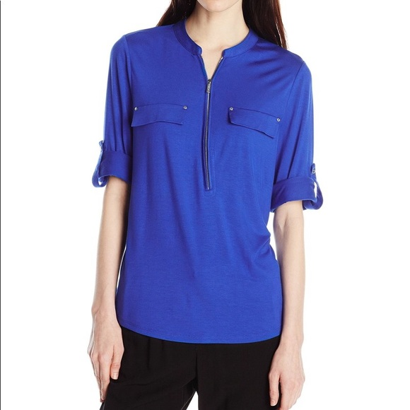 Calvin Klein Solid Zip Front Roll Blouse